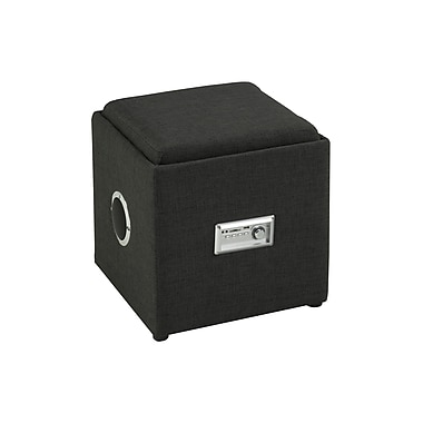 Brassex 583-GR Storage Ottoman with Reverse Tray and Audio, Grey, 16