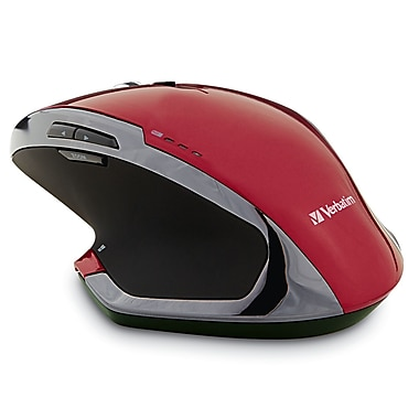 Verbatim Wireless Desktop 8-Button Deluxe Blue LED Mouse, Red (99021)