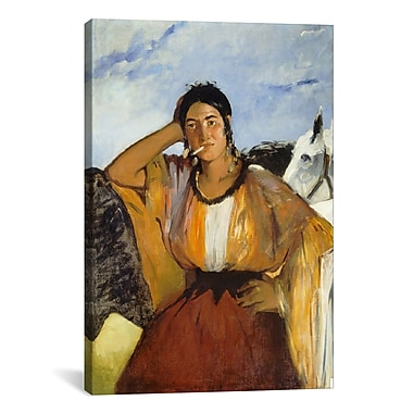 iCanvas 'Gypsy w/ a Cigarette' by Edouard Manet Painting Print on Canvas; 40'' H x 26'' W x 0.75'' D