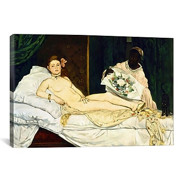 iCanvas 'Olympia' by Edouard Manet Painting Print on Canvas; 26'' H x 40'' W x 0.75'' D