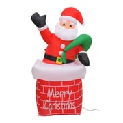 Aosom 6' Christmas Inflatable LED Lit Santa Claus Chimney Lawn Yard Decoration