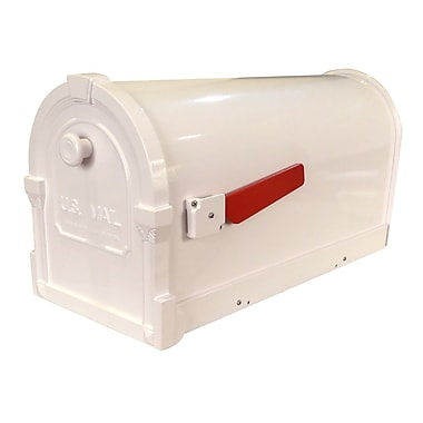 Special Lite Products Savannah Post Mounted Mailbox w/ Rain Overhang; White