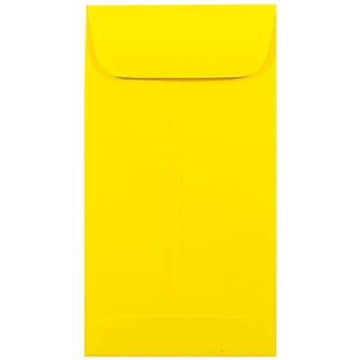 JAM Paper® #7 Coin Envelopes, 3 1/2 x 6 1/2, Brite Hue Yellow, 25/pack (1526761)