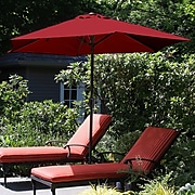 Pure Garden 9 Foot Aluminum Patio Umbrella with Auto Crank - Red (M150006)