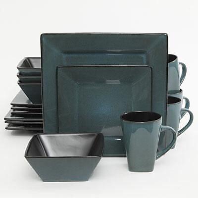 Gibson® Elite Kiesling Stoneware 16-Piece Dinnerware Set, Turquoise, 107276.16