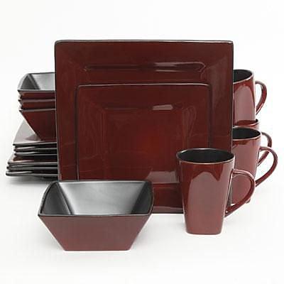Gibson® Elite Kiesling Stoneware 16-Piece Dinnerware Set, Red, 107278.16