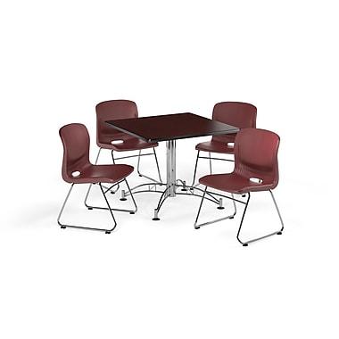 OFM – Table carrée et polyvalente de 42 po en stratifié acajou et 4 chaises rouge vin (845123069875)