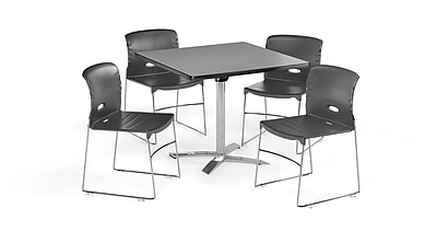 "OFM 42"" Square Laminate Multi-Purpose Flip-Top Table with 4 Chairs, Gray Nebula Table/Dark Gray Chair (PKG-BRK-088-0006)"