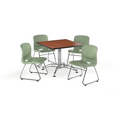 OFM – Table carrée et polyvalente de 42 po en stratifié cerisier avec 4 chaises vert olive (845123069318)