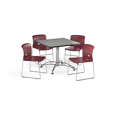 OFM – Table carrée et polyvalente de 36 po en stratifié gris nébuleux avec 4 chaises bourgogne (845123067321)
