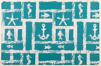 Island Girl Home Coastal Ocean Squares Floor Mat