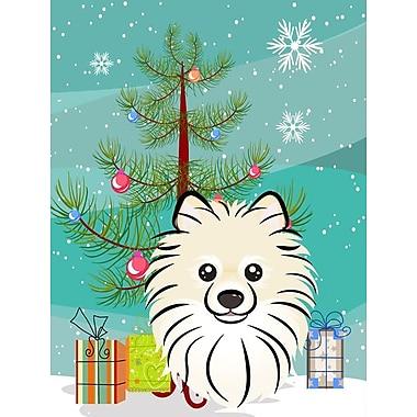 Caroline's Treasures Under The Christmas Tree Pomeranian Vertical Flag