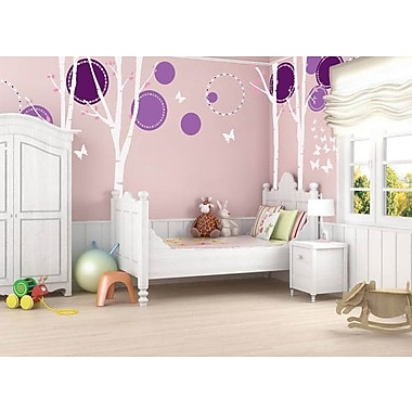 Pop Decors Nice 4 Big Birch Trees w/ Flying Butterflies Beautiful Wall Decal; Violet/White