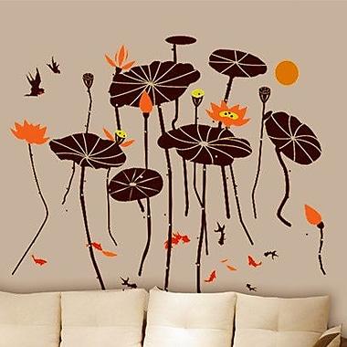 Pop Decors Beautiful Lotus w/ Fish Wall Decal