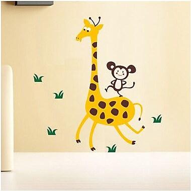 Pop Decors Giraffe and Monkey Wall Decal