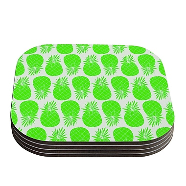 KESS InHouse Pinya Pattern Coaster (Set of 4); Neon Green / Lime