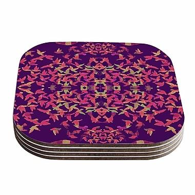 KESS InHouse Flying Birds Abstract Coaster (Set of 4); Purple