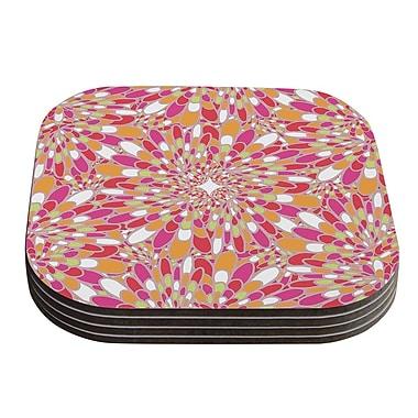 KESS InHouse Flourishing Geometric Coaster (Set of 4); Pink / Orange