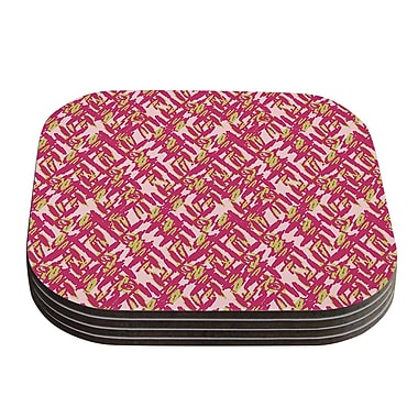KESS InHouse Abstract Print Coaster (Set of 4); Pink / Red