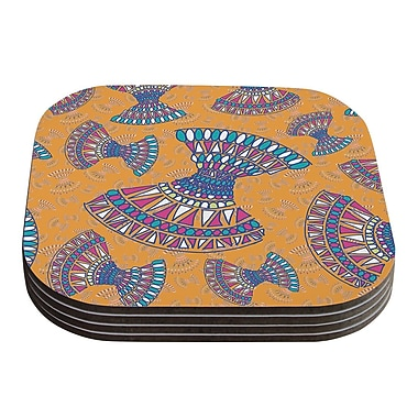 KESS InHouse Tribal Fun Abstract Coaster (Set of 4); Orange