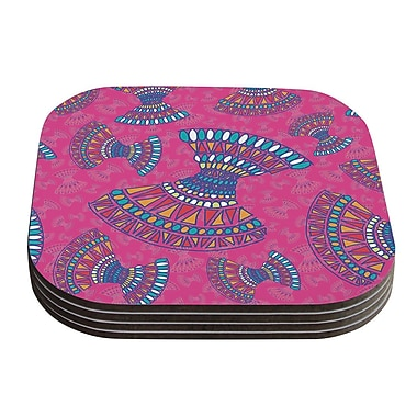 KESS InHouse Tribal Fun Abstract Coaster (Set of 4); Pink