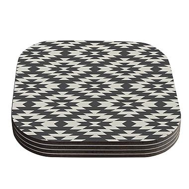 KESS InHouse Navajo Tribal Geometric Coaster (Set of 4); Black / Cream