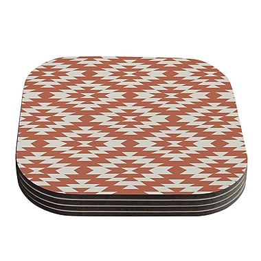 KESS InHouse Navajo Tribal Geometric Coaster (Set of 4); Coral / Red