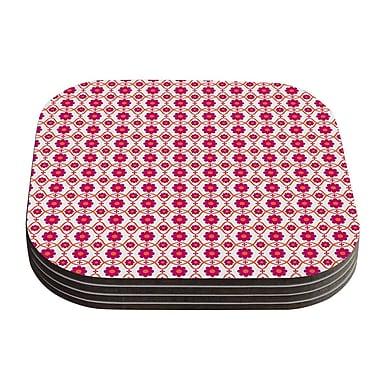 KESS InHouse Floral Pattern Coaster (Set of 4); Pink / Magenta