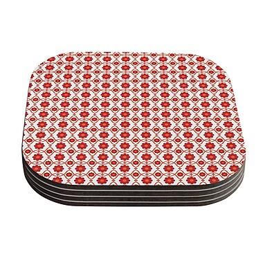 KESS InHouse Floral Pattern Coaster (Set of 4); Red / Crimson