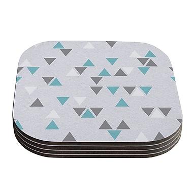KESS InHouse Triangle Love Coaster (Set of 4); Gray / Teal
