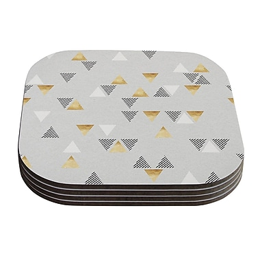 KESS InHouse Triangle Love Coaster (Set of 4); Gray / Gold