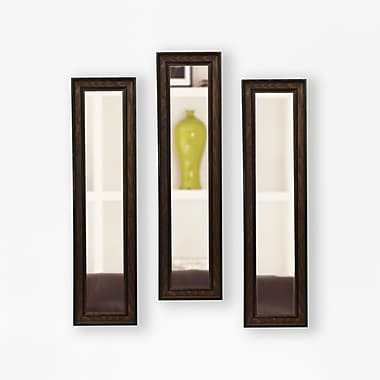 Rayne Mirrors Molly Dawn Country Pine Mirror Panels (Set of 3); 37.5'' H x 9.5'' W x 0.75'' D
