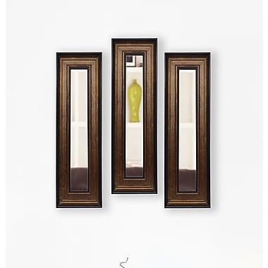 Rayne Mirrors Molly Dawn Bronze and Black Mirror Panels (Set of 3); 35.75'' H x 14.75'' W x 0.75''D