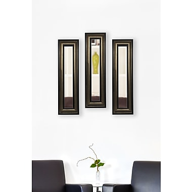 Rayne Mirrors Molly Dawn Stepped Antiqued Mirror Panels (Set of 3); 33'' H x 19'' W x 0.75'' D