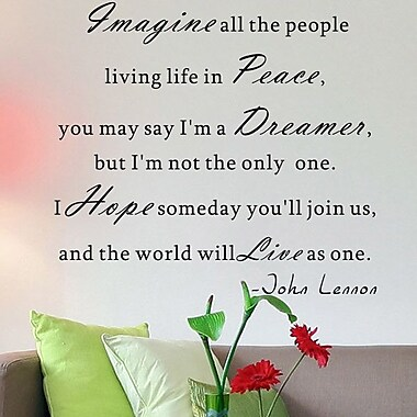 Pop Decors Imagine All the People Living Life in Peace- John Lennon Wall Decal
