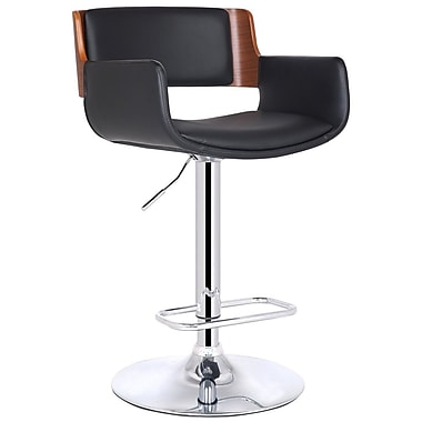 AdecoTrading Bentwood Adjustable Height Swivel Bar Stool
