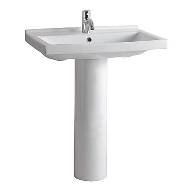 Whitehaus Collection China 23.5'' Pedestal Bathroom Sink w/ Overflow