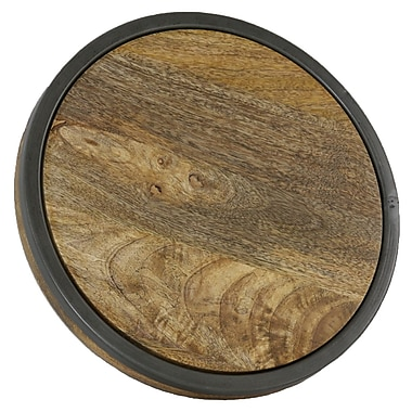 Manor Luxe Abbey Artisan Wood and Metal Round Trivet; 13''