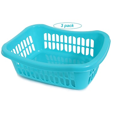 YBM Home Plastic Storage Basket (Set of 3); Blue