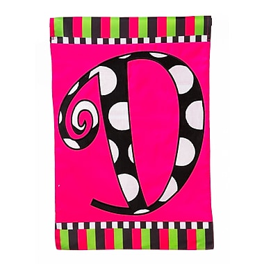Evergreen Enterprises, Inc Twirly Curly Monogram Vertical Flag; D