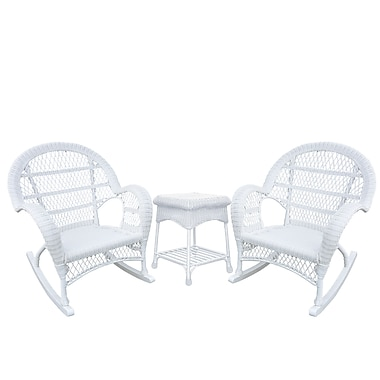 Jeco Inc. Santa Maria Wicker 3 Piece Seating Group; White