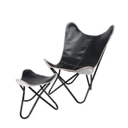 Fashion N You Leather Butterfly Lounge Chair and Ottoman