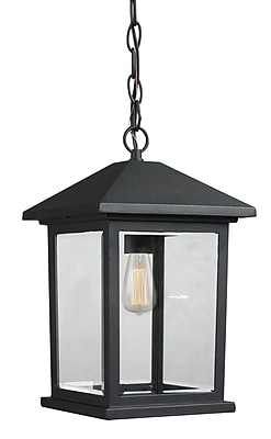 17 Stories Leroy Contemporary 1-Light Outdoor Hanging Lantern; 13.5'' H x 8'' W WYF078282125467