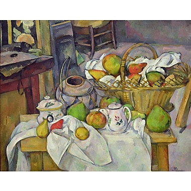 Wallhogs Cezanne Still Life w/ Basket (19th) Poster Wall Mural; 19'' H x 24'' W