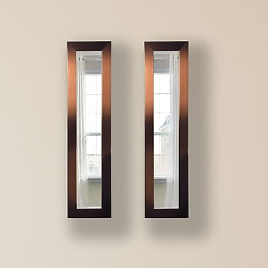 Rayne Mirrors Molly Dawn Shiny Bronze Mirror Panels (Set of 2); 33.5'' H x 7.5'' W x 0.75'' D
