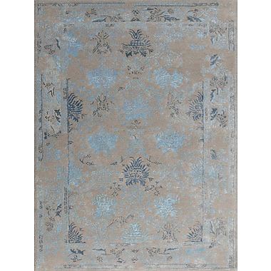 AMER Rugs Artist Hand-Tufted Silver/Blue Area Rug; Rectangle 7'6'' x 9'6''