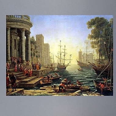 Wallhogs Lorrain Seaport w/ The Embarkation of St. Ursula (1641) Poster Wall Mural; 36'' H x 48'' W