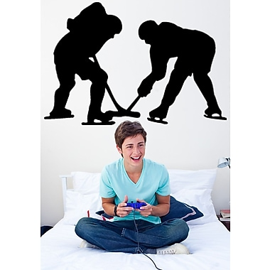 Wallhogs Hockey Silhouette Cutout Wall Decal; 48.5'' H x 72'' W