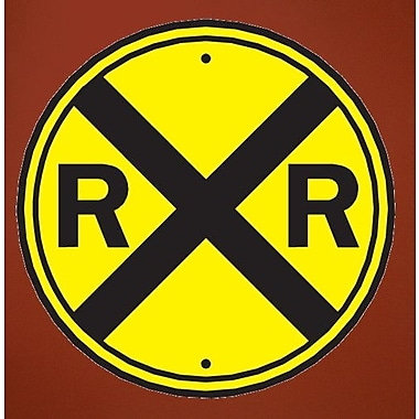 Wallhogs Railroad Crossing Sign Wall Decal; 24'' H x 24'' W