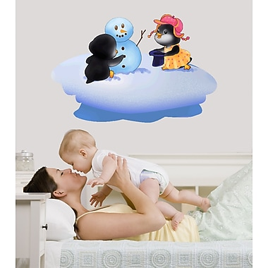 Wallhogs Pengiuns and Frosty Wall Decal; 31'' H x 48'' W
